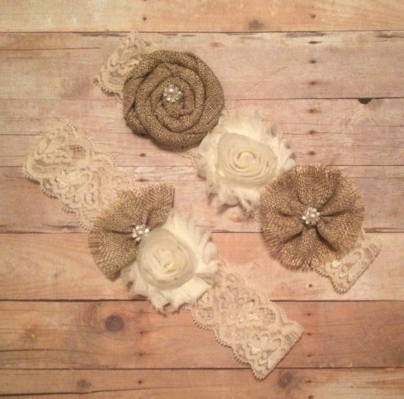 Country Wedding Garters: Wedding Garter Set Burlap Rustic / Country By