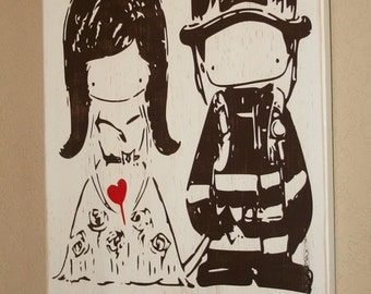 I Love My Firefighter Sign, Firefighter Sign, Custom Wood Sign, Firefighter Cutie Couple - I Love My Firefighter Cutie Couple by Yu Yu Art
