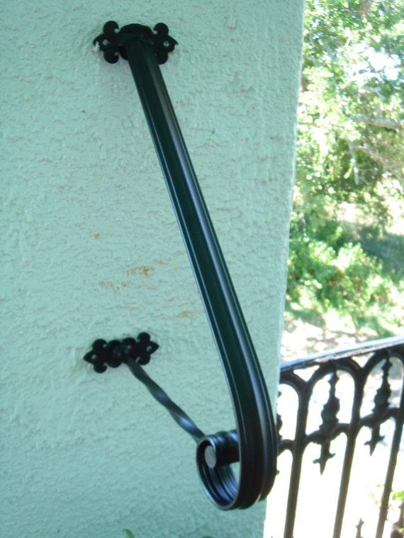 1 to 2 Step Wrought Iron Grab Rail Stair Railing Handrail Step