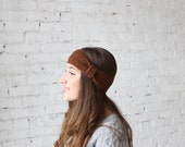 Brown crochet headband, hand knotted ear warmer, gift for her, warm accessory, turban headband