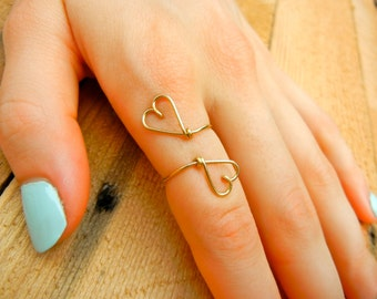 Gold Heart 2 Heart Ring - Any Size