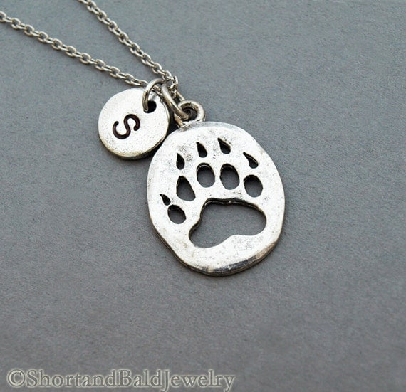 Bear Paw Print Necklace bear paw necklace initial necklace