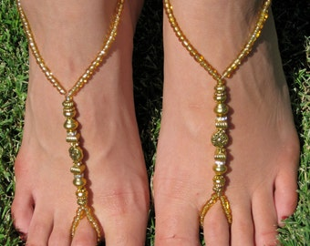 Gold Metal Medley Barefoot Sandals, Slave Anklet, foot thong, ankle bracelet with toe ring