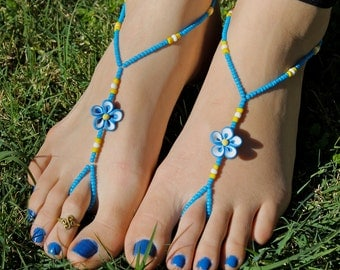 Blue and Yellow Hawaiian Flowers Barefoot Sandals, Slave Anklet, foot thong, ankle bracelet with toe ring