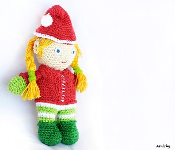 Tutorial Elfi Amigurumi : Crochet Amigurumi Pattern Christmas Crochet Doll Pattern