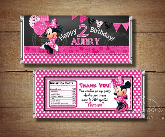 Printable Chalkboard Minnie Mouse Birthday Candy Bar Wrapper, Black Pink Polka Dots Minnie Mouse Candy Bar Wrapper, Printable Candy Wrappers
