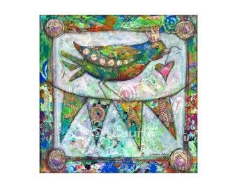 """10x10 Inspirational Mixed Media Art Bird Print, Altered Art Song Bird, King Bird, Queen Bird, Royal Banner Painting, """"Simply Soar"""""""