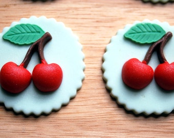 Cherry Cupcake/Cookie Toppers  - Fondant and White Chocolate