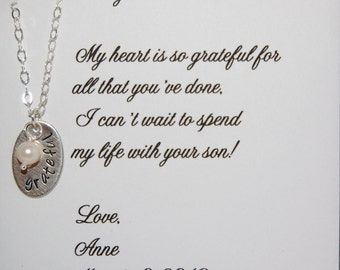 Mother in law necklace, Grateful necklace, Mother of the Groom gift, Mother in law card with necklace