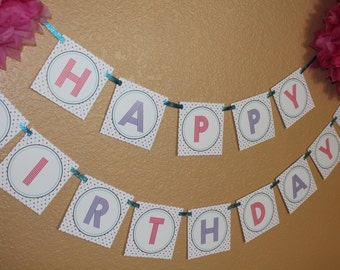 Happy Birthday Banner Instant download-By Sweet Willow Designs