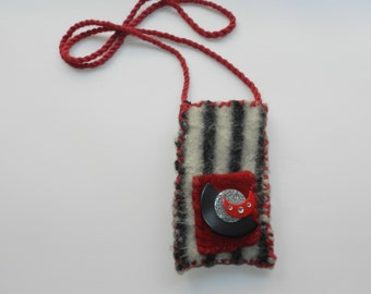 Black and White and Red Hand Knit Felted Purse - Moon and Stars