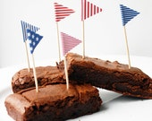 Printable 4th July Cake Bunting Flags