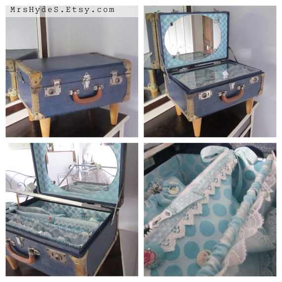 Unique piece vintage little suitcase repurposed as a travel for Table valise