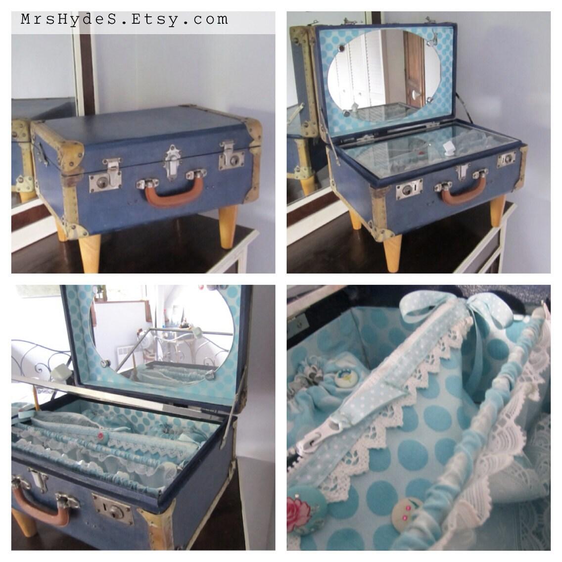 Unique Piece Vintage Little Suitcase Repurposed As A Travel
