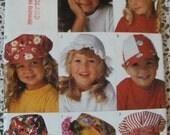 Butterick 299, Butterick 3281, Children's Hat patterns, Sun Hats, Ball Hats , Engineer Hats, Floppy Brim Hats, Eleven Different Hats