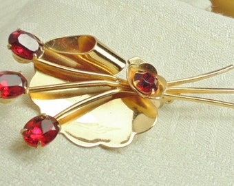 Coro Rose Brooch,  Vintage 1940's Abstract Red Rhinestone Floral Pin with Bow