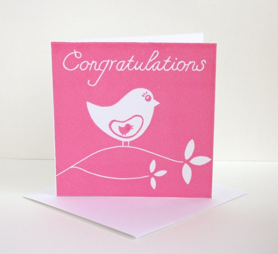 Items Similar To Congratulations Card. Pregnancy Card. Pink Baby Shower Card. Linocut Baby Girl