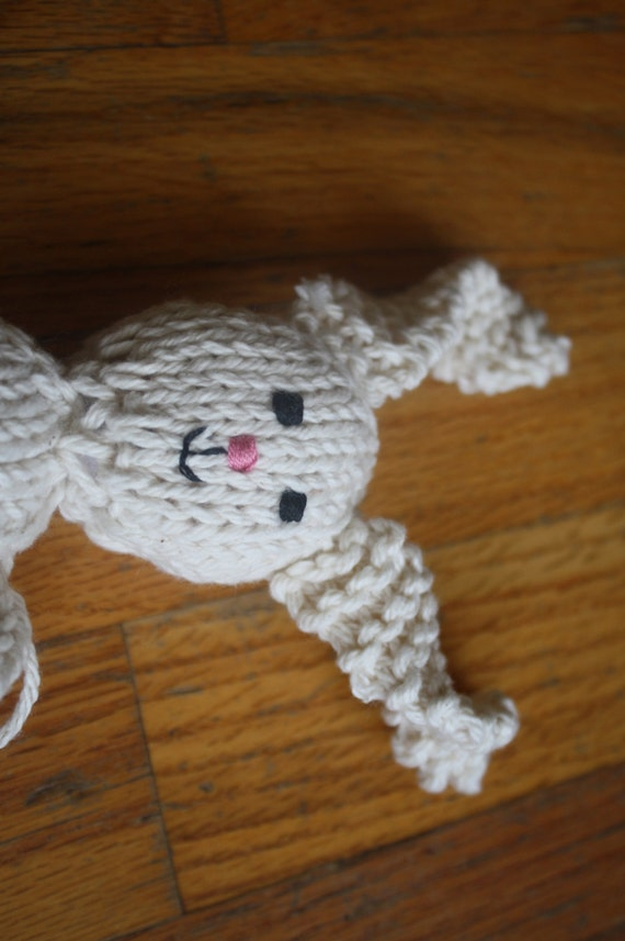 Ready to Ship Hand Knit Cotton Stuffed Bunny Rabbit Doll in Ecru for Easter