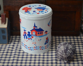Tin Metal Container Country Home Red White Blue Rustic Farmhouse Amish Decor