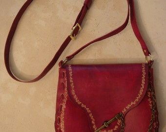 Kim Tooled Red Leather Crossbody Bag - Shoulder Bag - Purse - Handbag - Scroll Pattern