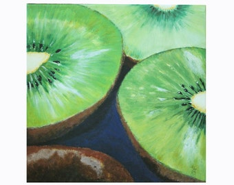 "Kitchen Still Life Original Food Painting FREE SHIPPING Kiwis 11,8""x11,8""  Acrylics on canvas"