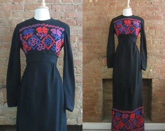 1970s black wool floral embroidered maxi dress