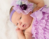 Baby Headband-Preemie headband-Newborn headband-baby Hair Bows-Lavender Headband-Baptism Headband-bridal Headband-Flower Girl Headband-lace