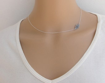 Hamsa necklace, Silver necklace, Hamsa silver necklace, sideways hamsa, Dainty necklace, unique gift