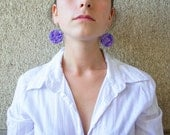 Polymer clay earrings OOAK earrings Violet earrings Blue earrings  Dangle earrings Geometric earrings Round earrings Colourful earrings
