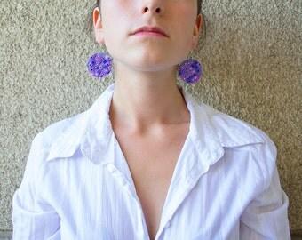 Polymer clay earrings OOAK earrings Violet earrings Blue earrings  Dangle earrings Geometric earrings Round earrings Colourful earrings
