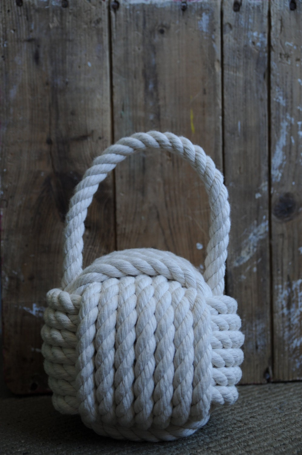 Nautical decor cotton rope doorstop nautical gift for Heavy rope for nautical use
