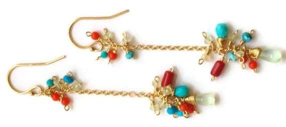 Sundance Earrings Prehnite Turquoise and Coral Cluster Earrings Mulit-color Stones Gold Filled Chain Dangle Earrings