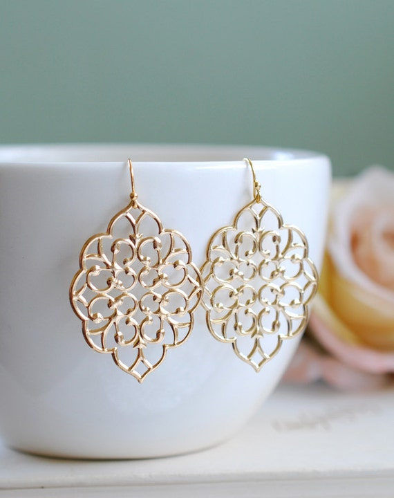 large gold printed earrings