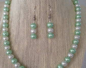 Seafoam Green Pearl Necklace, Seafoam Wedding, Bridesmaid Jewelry, Mint Green Necklace, Mint Green Earrings, Bridesmaid Gift