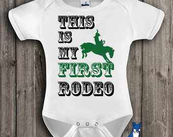 Western baby bodysuit, This is my first rodeo, funny baby one piece, cute baby clothes for boy or girl, by Blue Fox Apparel *078