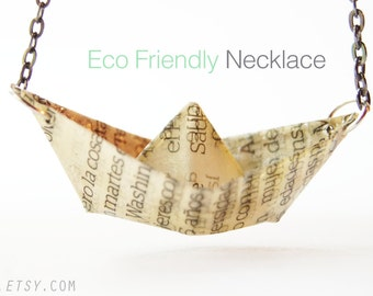 Eco-Friendly Products: Paper Boat Necklace