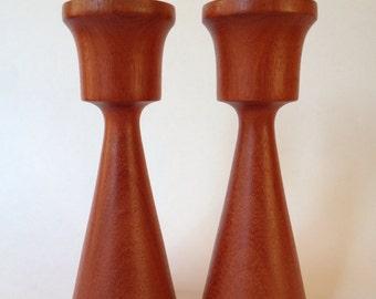 Mid Century Modern Pair Teak Candle Holders, Turned Wood Candlesticks, Danish Modern Candlesticks,