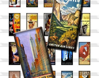 Vintage Travel Posters Vacation Digital Images Collage Sheet 1x2 inch Rectangles Domino Commercial INSTANT Download RD03