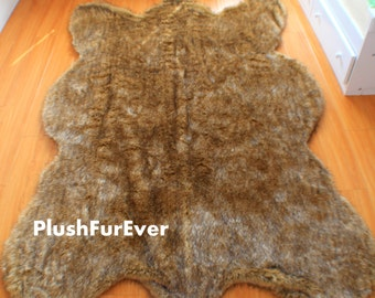 lodge cabin bearskin rug premium faux fur fur rugs brown tip light grizzly fur decors - Bearskin Rug