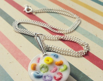 Fruit Loops, Cereal Necklace Polymer Clay, Miniature Clay Dessert Food Jewelry, Ball Chain, Fake Food