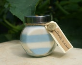 Blue and White Striped Soy Glass Jar Container Candle Baby Shower, Birthday - HippieLand