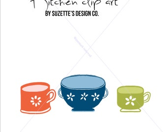 Kitchen Clip Art! Mixing Bowl, Whisk, tea cups