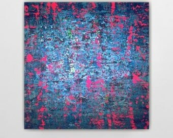 Abstract painting huge large blue teal turquoise neon pink fuschia canvas art wall art