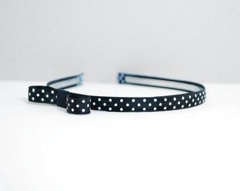 Black polka dot headband - Retro hair accessories - Vintage hair accessories - headband for women - hair accessories for women