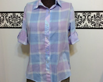 80's does 50's Pastel Plaid Button Up Rockabilly Blouse by Shirt Links , Vintage Pin Up Plaid Blouse, Size Medium