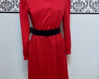Cherry Red 1960's Rockabilly Dress by Kenny Classics Vintage