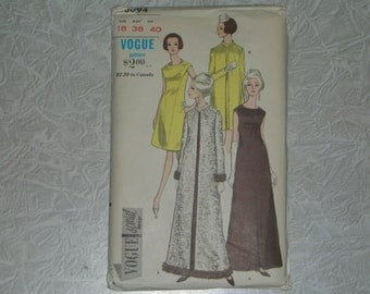 Vogue 1960 Evening Dress & Coat Special Design Pattern Long Or Short Evening dress Size 18 Bust 38