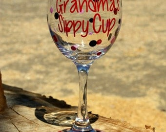 Extra large personalized wine glass- Grandma's Sippy Cup - Nana, Mommy
