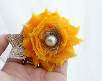 Yellow Shabby Burlap Hair Flower - Yellow Bridal Hair Accessory Burlap and Lace Hair Clip Sunflower Wedding Hair Accessory, Shabby Chic Hair