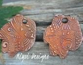Handmade Copper Tribal Zentangle Textured Paws